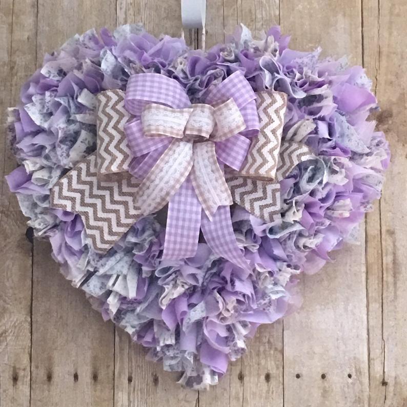 Purple Heart Rag Wreath, Vintage Cotton Fabrics, B