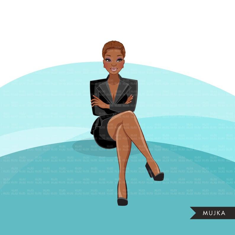Fashion Graphics Black Business Woman White Throne Etsy In 2020 Black Business Business Women Business Graphics