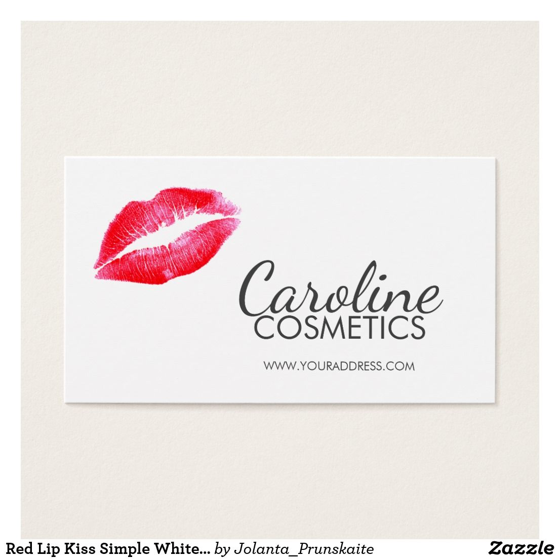 Red Lips Icon Simple White Cosmetics Business Card | Pinterest ...