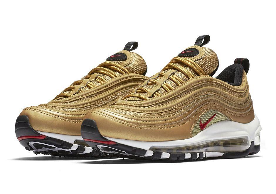 Nike Air Max 97 Metallic Gold Kids Gs Sneakernews Com Gold Nike Air Max Nike Air Max Nike Gold