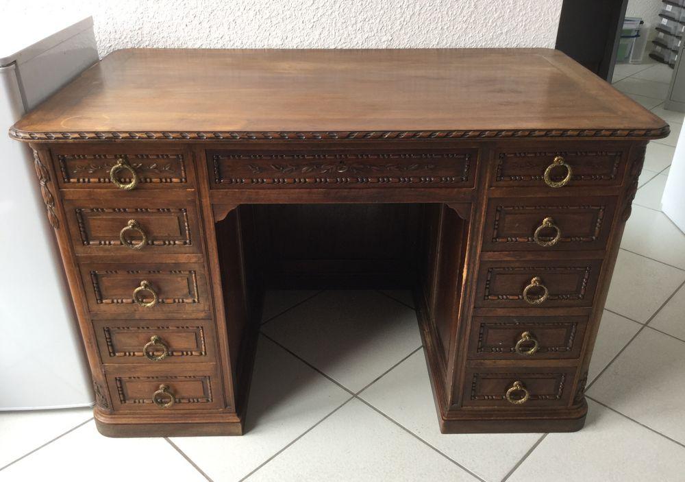 bureau ancien 10 tiroirs bois massif