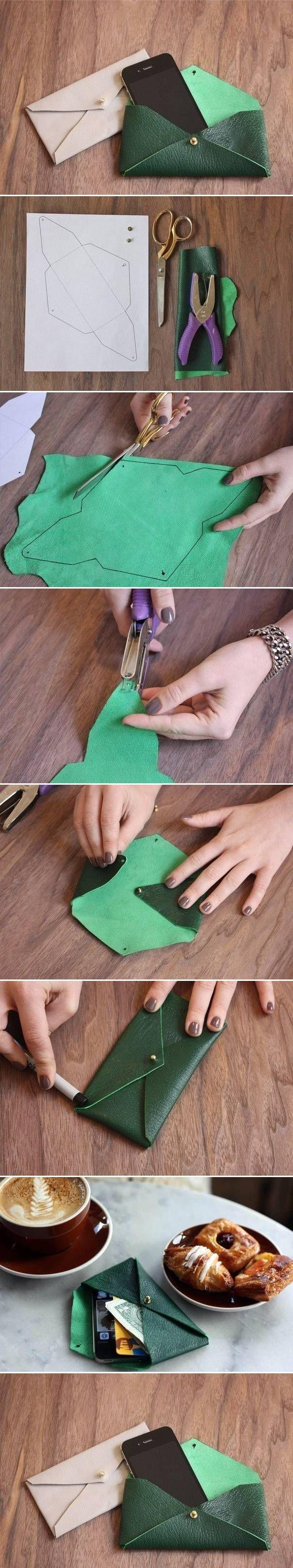 Funda de piel en forma de sobre para el móvil