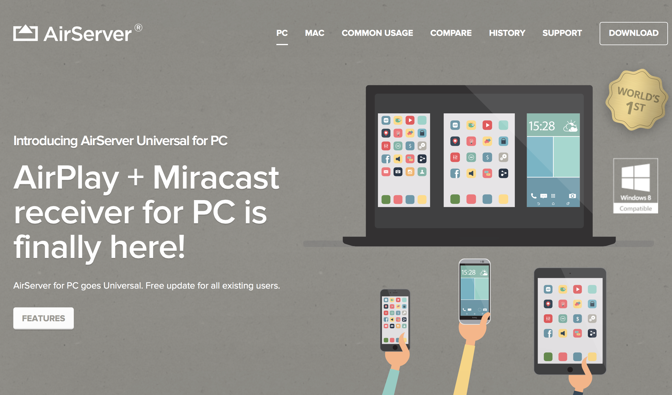 AirServer Universal turns your Windows PC into a universal