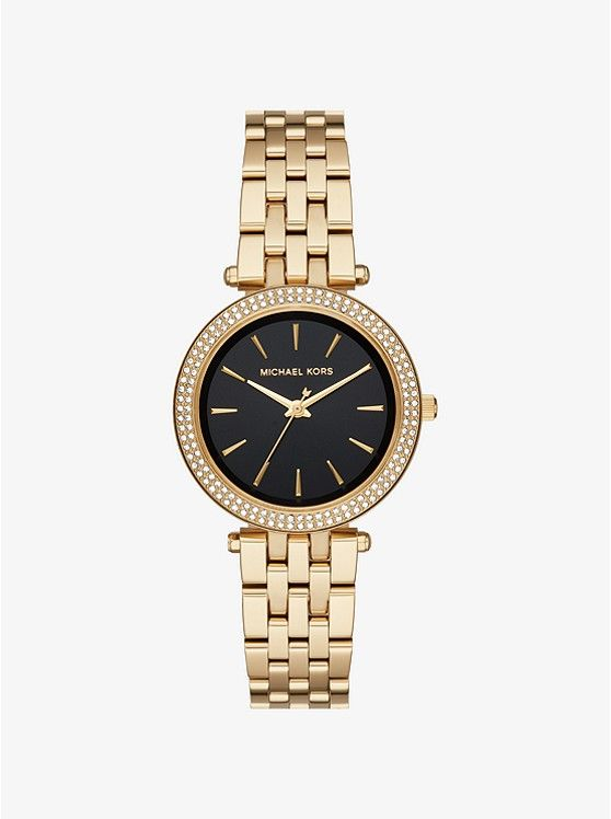 Armbanduhr Mini Darci Im Goldton Mit Pave Fassung Quarzuhr Michael Kors Uhr Armbanduhr