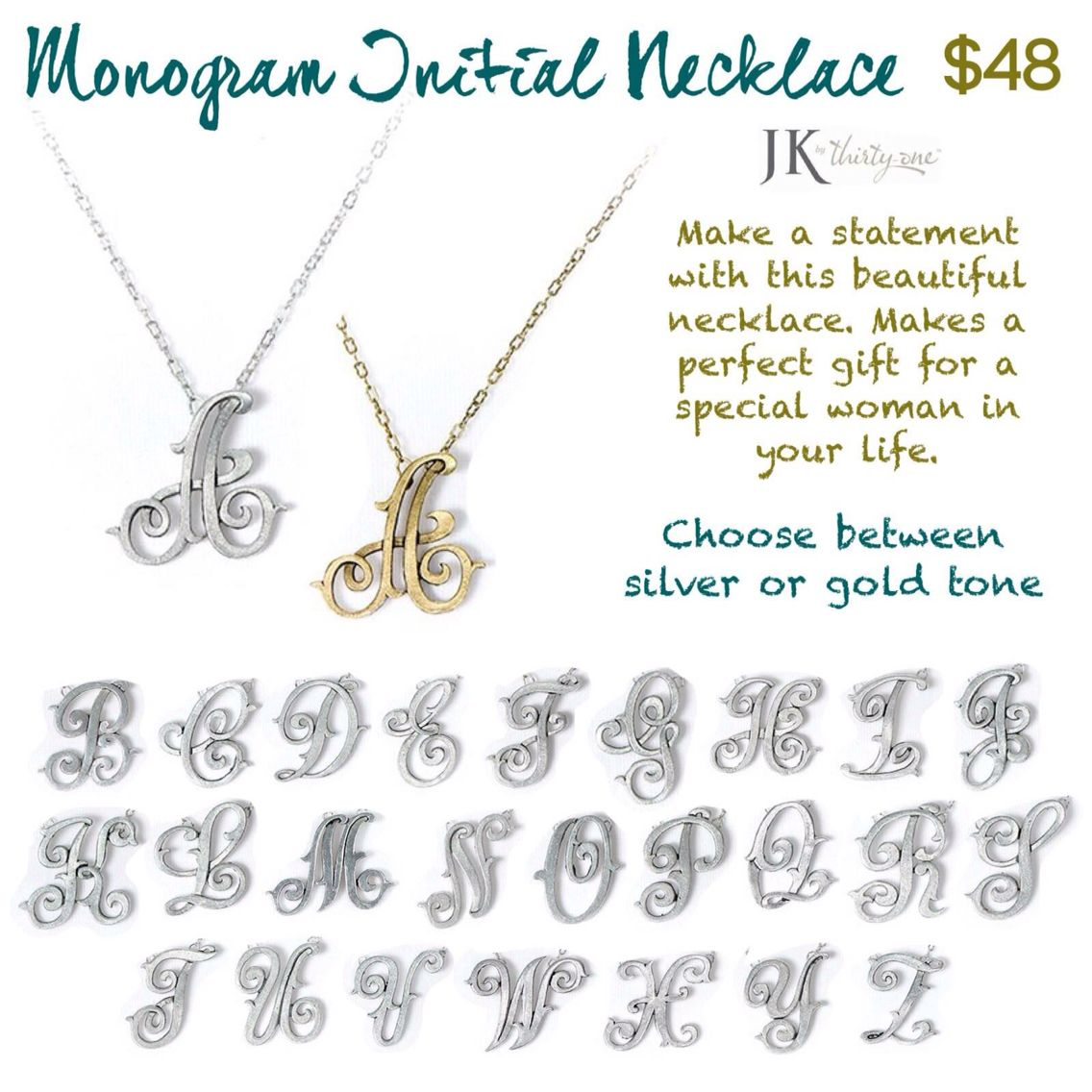 Monogram initial necklace jk by thirty one gifts jkbythirtyonegifts monogram initial necklace jk by thirty one gifts jkbythirtyonegifts mythirtyone aloadofball Gallery