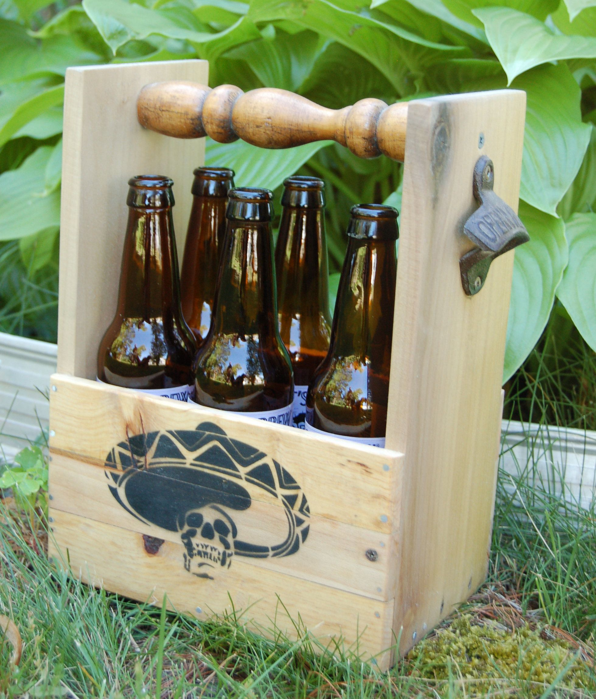 skull sombrero beer caddy six pack beer holder bottle carrier