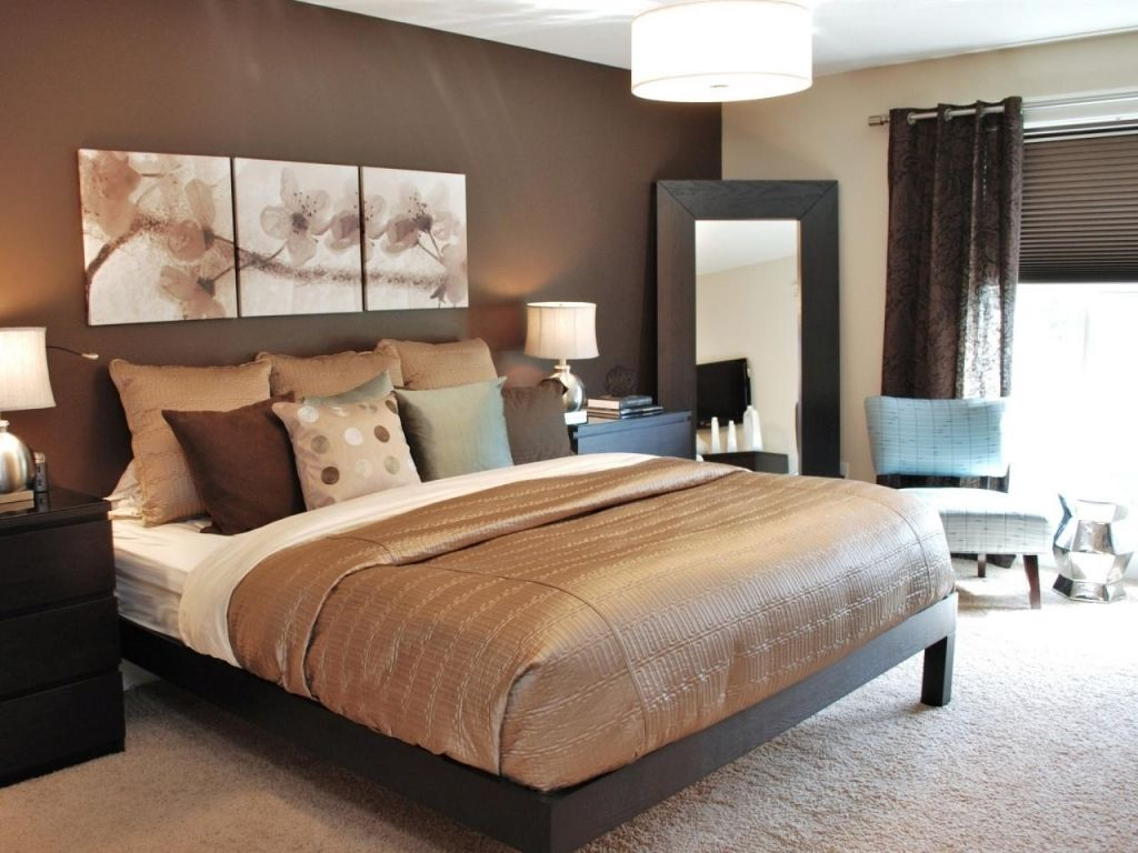 Brown bedroom decor ideas - Gorgeous Chocolate Brown Master Bedroom With Dark Storage Fluffy Rug Chair Mirror And Great Lamps Ideas