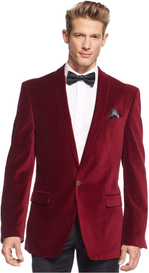 Tallia Red Velvet Slim-Fit Blazer | Men fashion | Pinterest