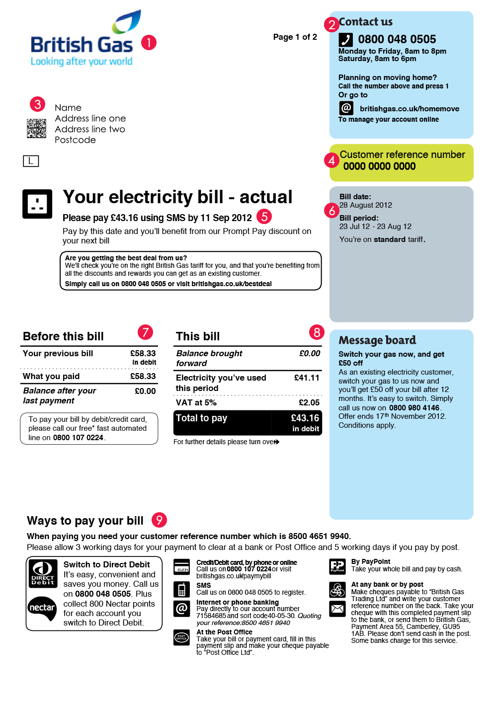 British Gas Bill  Bill Design    Gas Bill