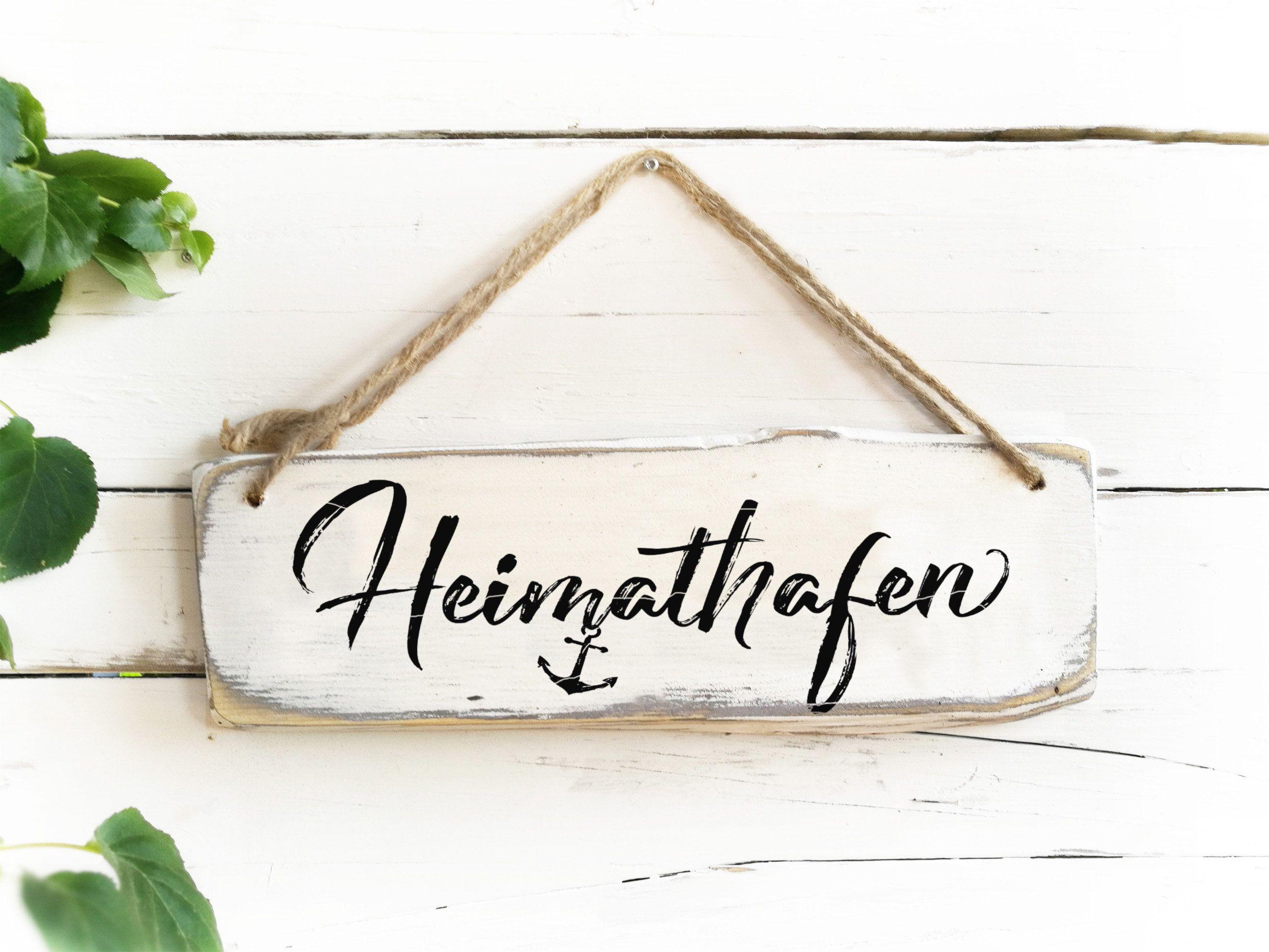 Heimathafen Schild Gartendeko Gartendekoration maritime Deko Wohnzimmer Holz Garten Holzsschild Gartenschild Anker Holzschilder Spruch #weihnachtsmarktideenverkauf