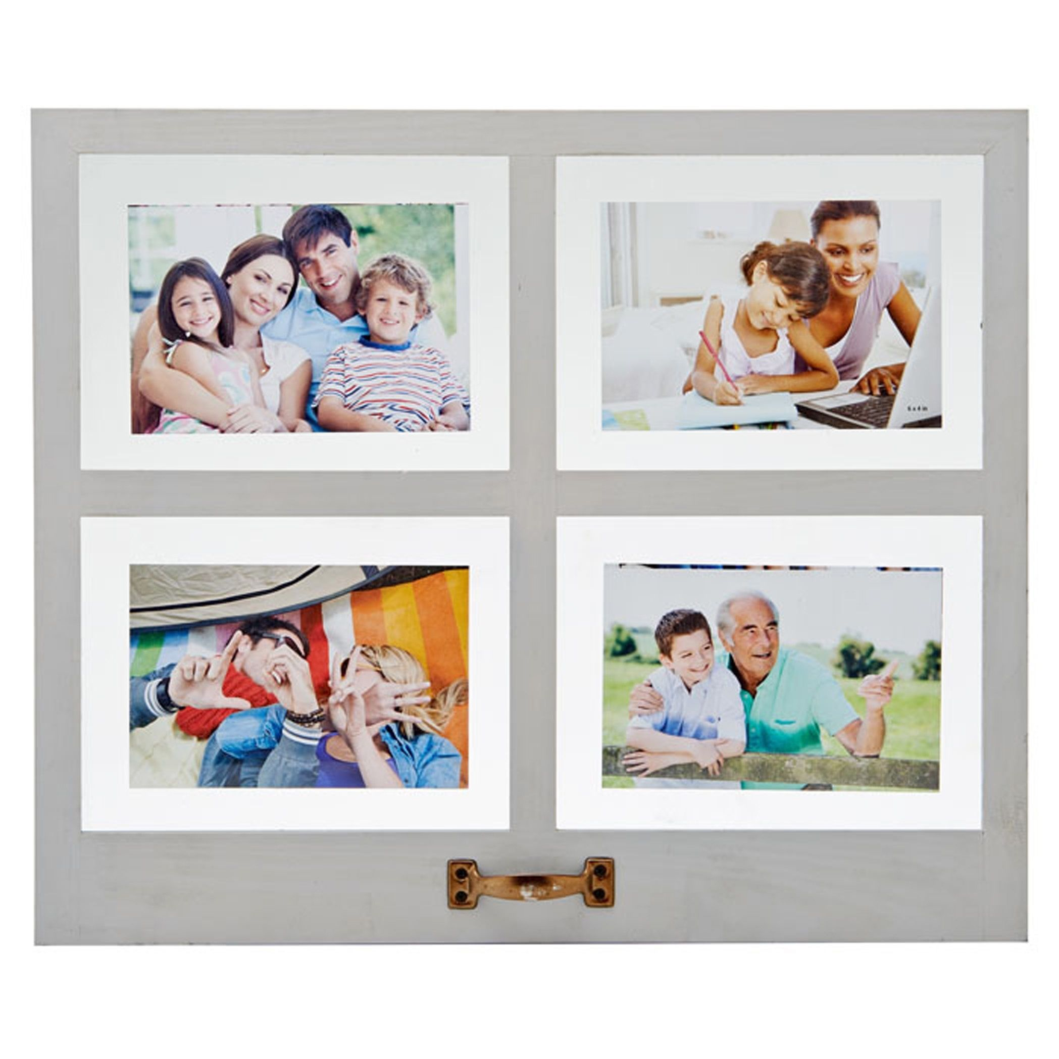 Melannco Distressed Gray 4 Opening Floating Collage Picture Frame ...