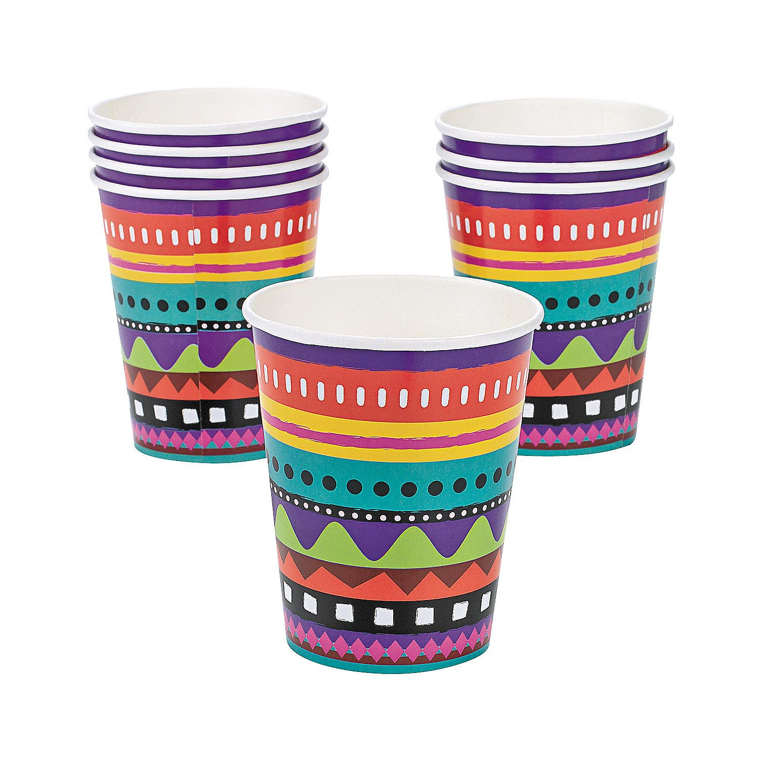 """Rainbow Party Paper Cups 8 Cups 1 Pack Party Supplies 3 3//4/"""" 9 oz."""