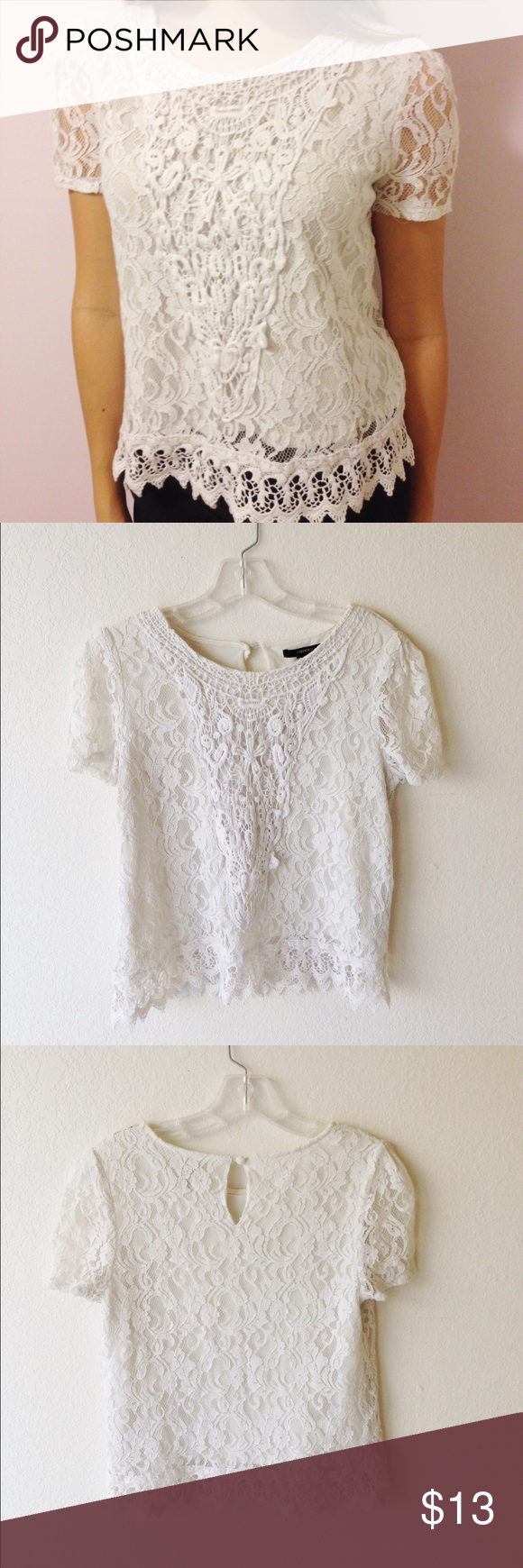 White lace blouse Super cute white lace shirt. Not see through at all because of the lining underneath. In good condition. Has no stains or tears. Is a size medium but may fit a small as well. I love this shirt and I got a bunch of compliments on it! Forever 21 Tops Blouses