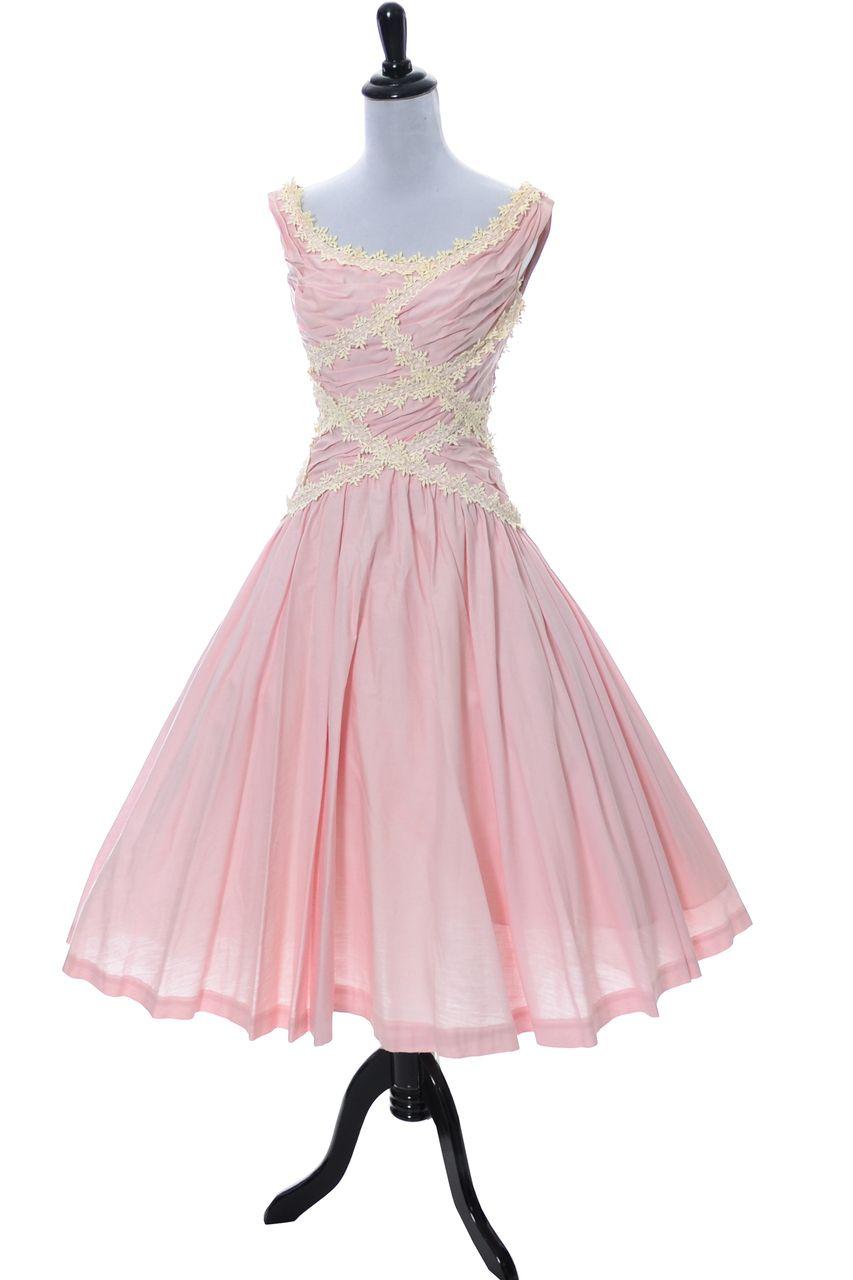Ceil Chapman Vintage Dress in Pink 1950s with Lace Trim | Fiestas de ...