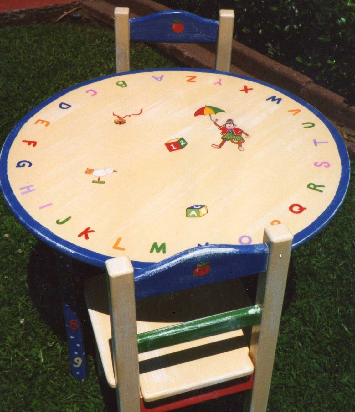 Alphabet table and chair set, hand painted children\u0027s table ...