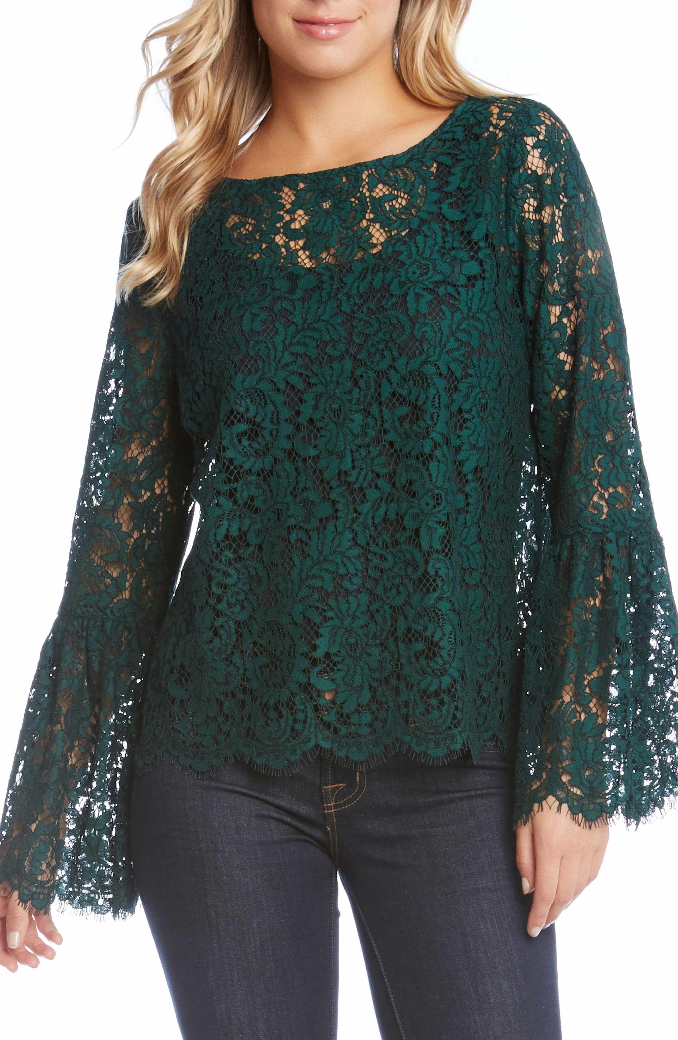 Karen Kane Womens Bell Sleeve Lace Top