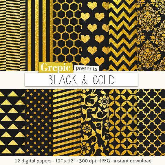 """Black gold digital paper """"BLACK AND GOLD"""" black golden backgrounds"""