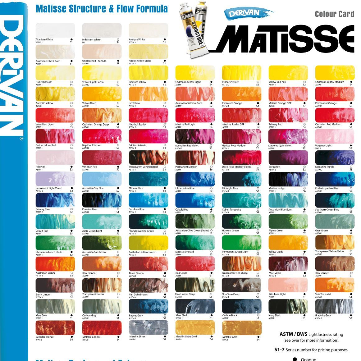 Matisse Structure Flow Formula Colour Chart Color Mixing Chart