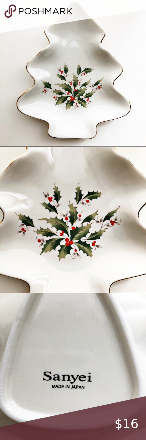2020 Best Holly For Small Christmas Tree Sanyei Japan Vintage Porcelain Holly Berry Dish in 2020 | Vintage