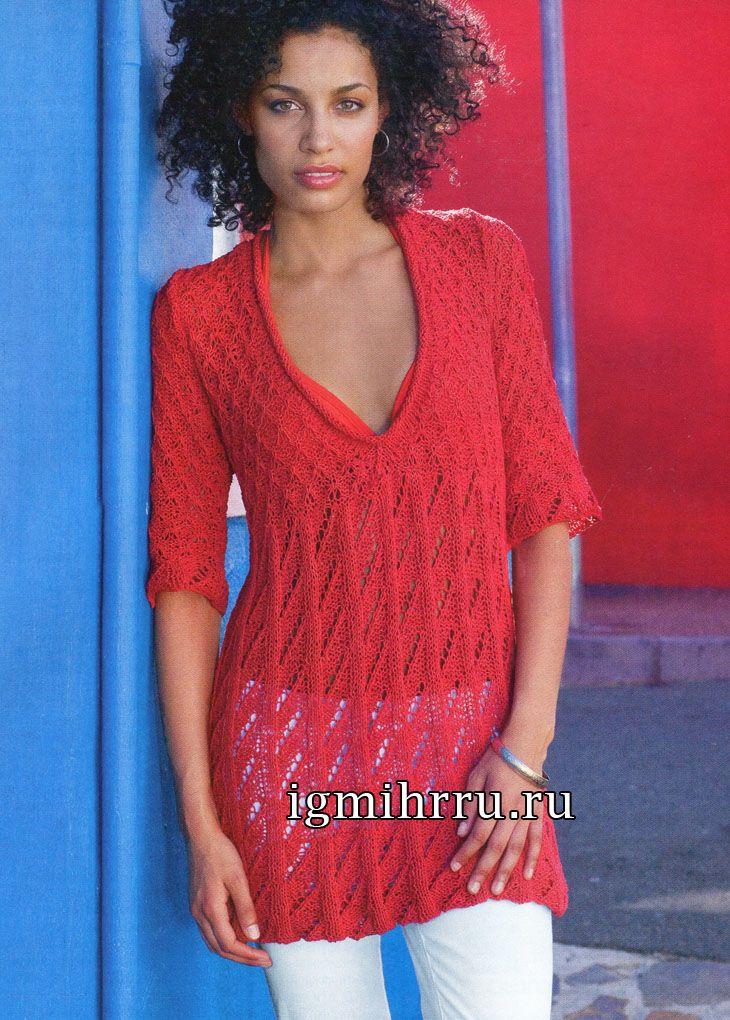 Ажурная летняя туника красного цвета. Вязание спицами