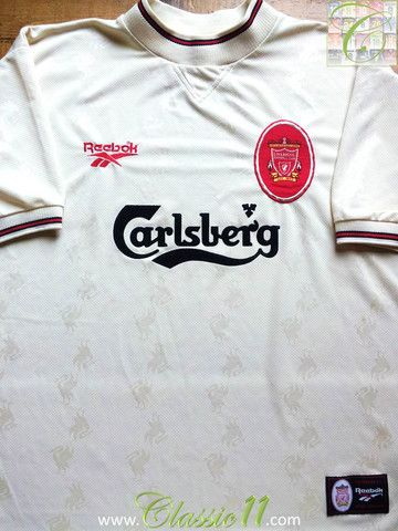91d1964e97f Relive Liverpool s 1996 1997 season with this vintage Reebok away football  shirt.