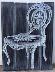 cuadro tablas madera imagen silla 1 medidas 60x80