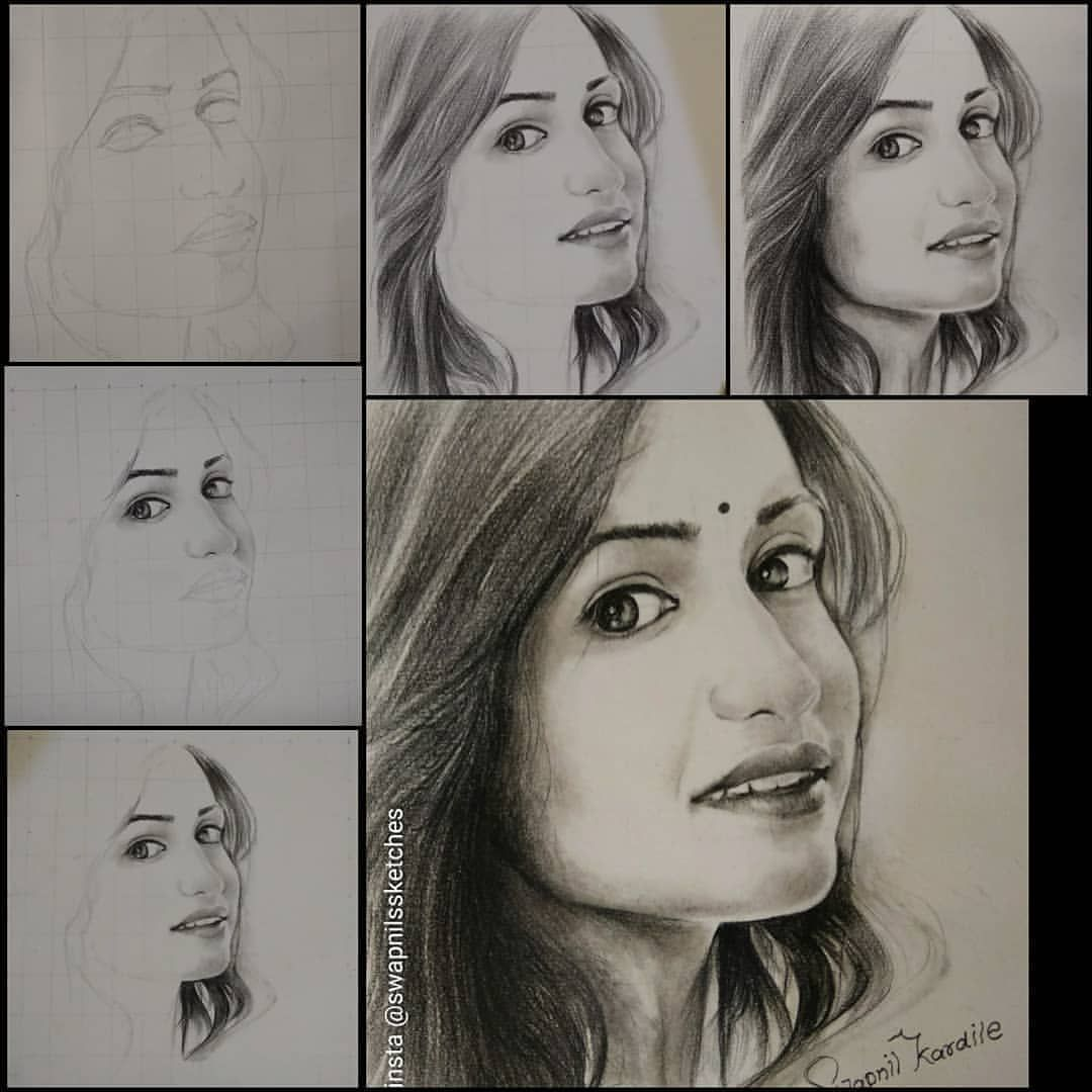 Step by step pencil sketch of actres hruta vaidehi drawn by me one of the most beautiful marathi actress my fav dear hruta12 mam i hope u