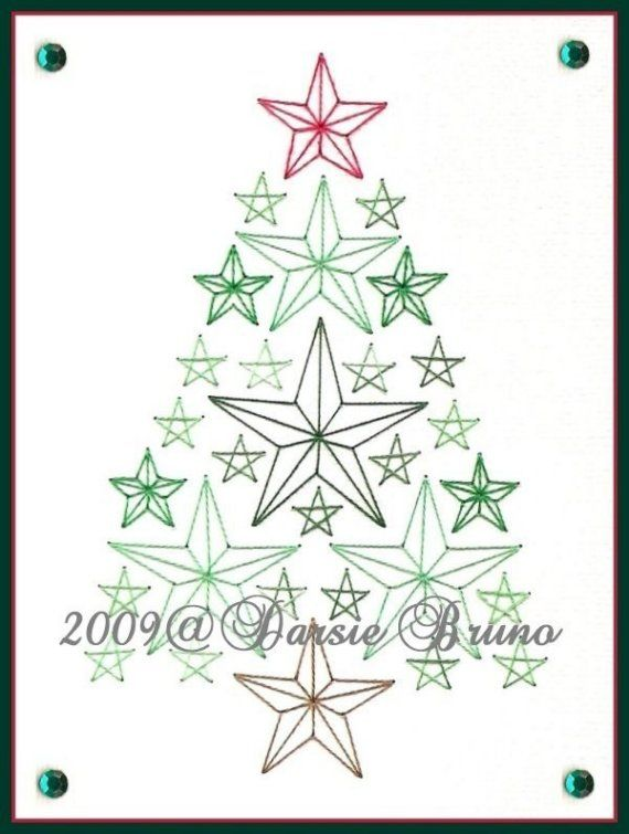 Star Christmas Tree Paper Embroidery Pattern For Greeting Etsy Embroidery Cards Paper Embroidery Card Patterns