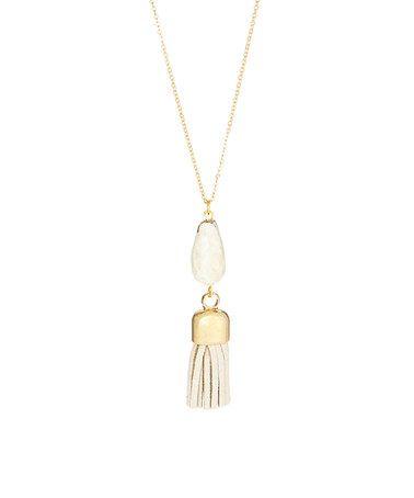 Another great find on #zulily! Lemon Chrysoprase & Suede Briolette Tassel Necklace #zulilyfinds