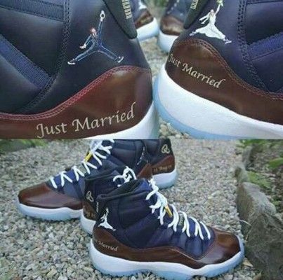 Custom Just Married Jordans Man me & my dude need these! We buy ea.