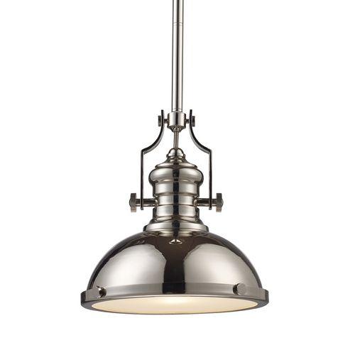 Elk Lighting 13-Inch Polished Nickel Vintage Pendant Light | 66114-1 |  Destination - Farmhouse Barn Light Polished Nickel Chadwick By Elk Lighting