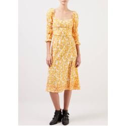 Paloma Blue - Midi-Kleid 'Isla' mit floralem Print Gelb/Weiß