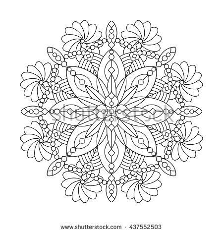 Abstract mandala or whimsical snowflake line art design or coloring ...