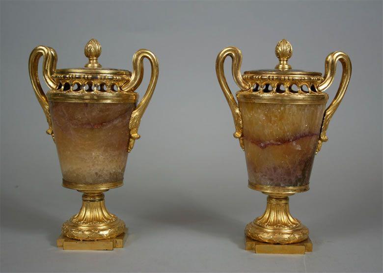 Decorative Urns With Lids Impressive Late 1700S Blue John And Ormolu Vases With Lids  Perfume Burner Inspiration Design