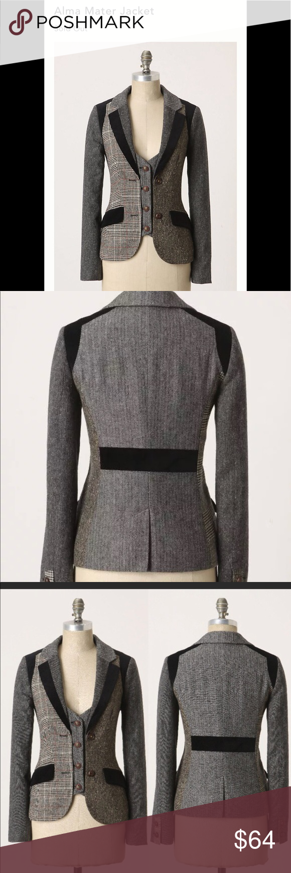 Cartonnier Alma Mater Blazer Sz L Anthropologie | My Posh