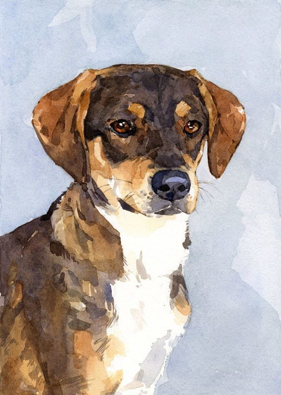 Custom Dog Watercolor Painting 5x7 Realistic Pet Portrait ...
