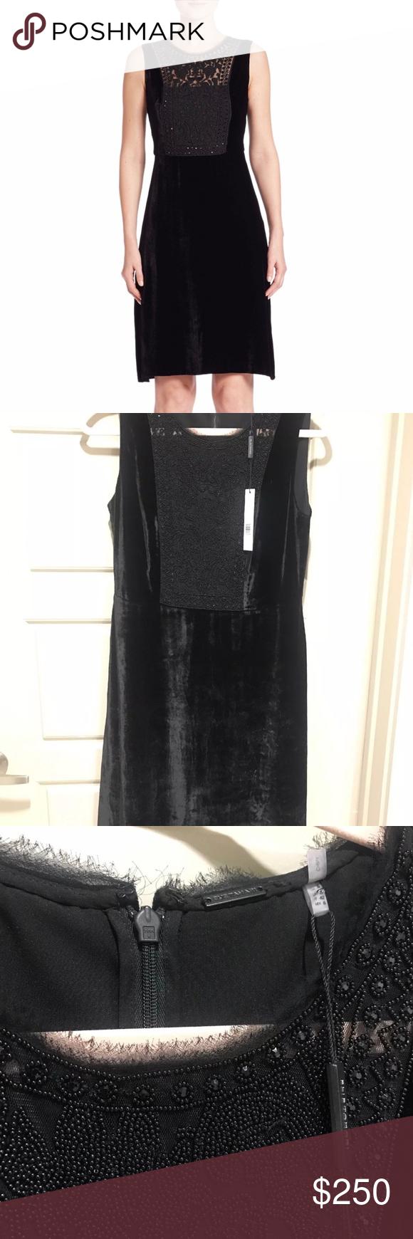 Elie Tahari Black Velvet Dress Black Velvet Dress Velvet Dress Elie Tahari Dresses [ 1740 x 580 Pixel ]