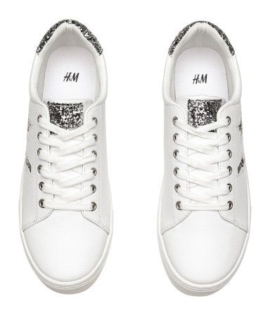 Cool white Sneakers with glitter up to