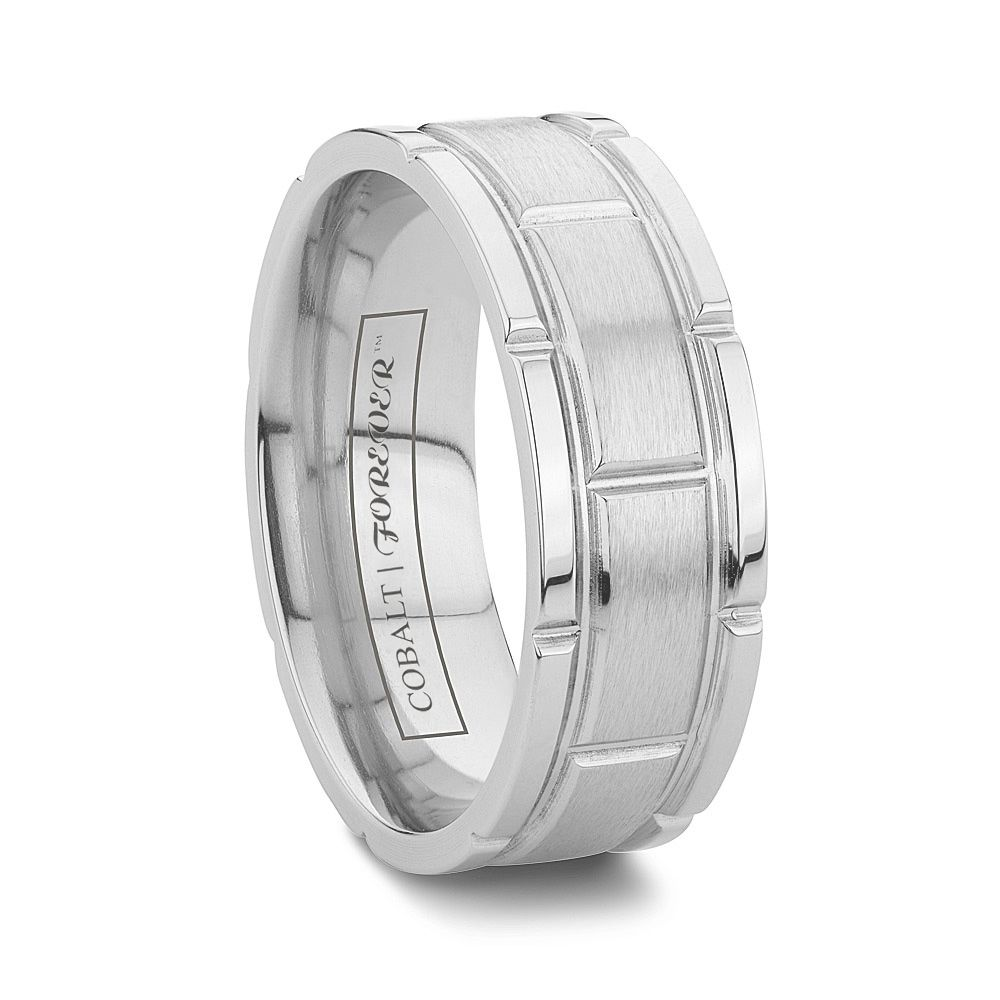 Faceted Cobalt Mens Wedding Bands Durable
