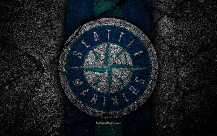 Download Wallpapers 4k Seattle Mariners Logo Mlb Baseball Usa Black Stone Major League Baseball Asphalt Texture Art Baseball Club Seattle Mariners Lo Seattle Mariners Logo Seattle Mariners Mariners