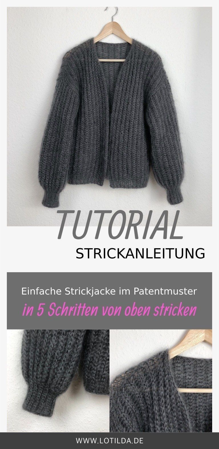 Photo of Tutorial – Strickanleitung – Einfache Strickjacke im Patentmuster von oben stric…,  #Einfac…