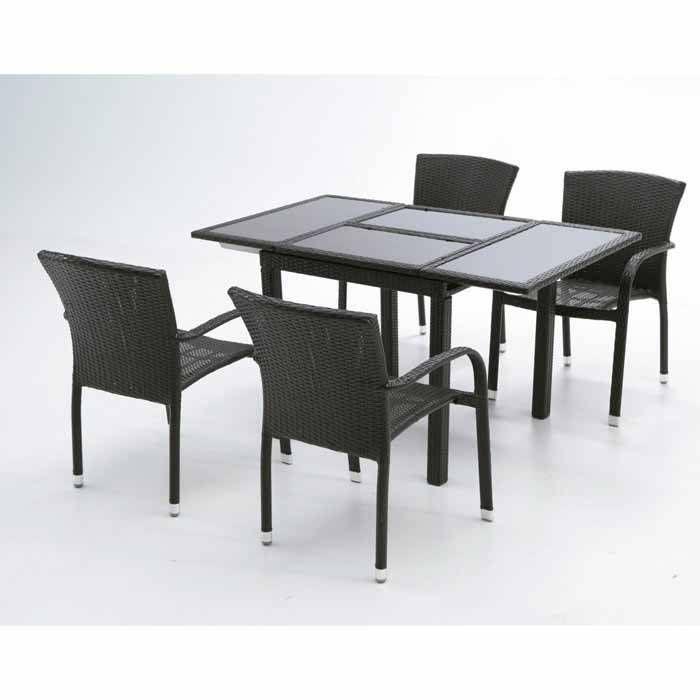comedor exterior fabricado en rattan sintetico color negro y estructura de aluminio formado por mesa