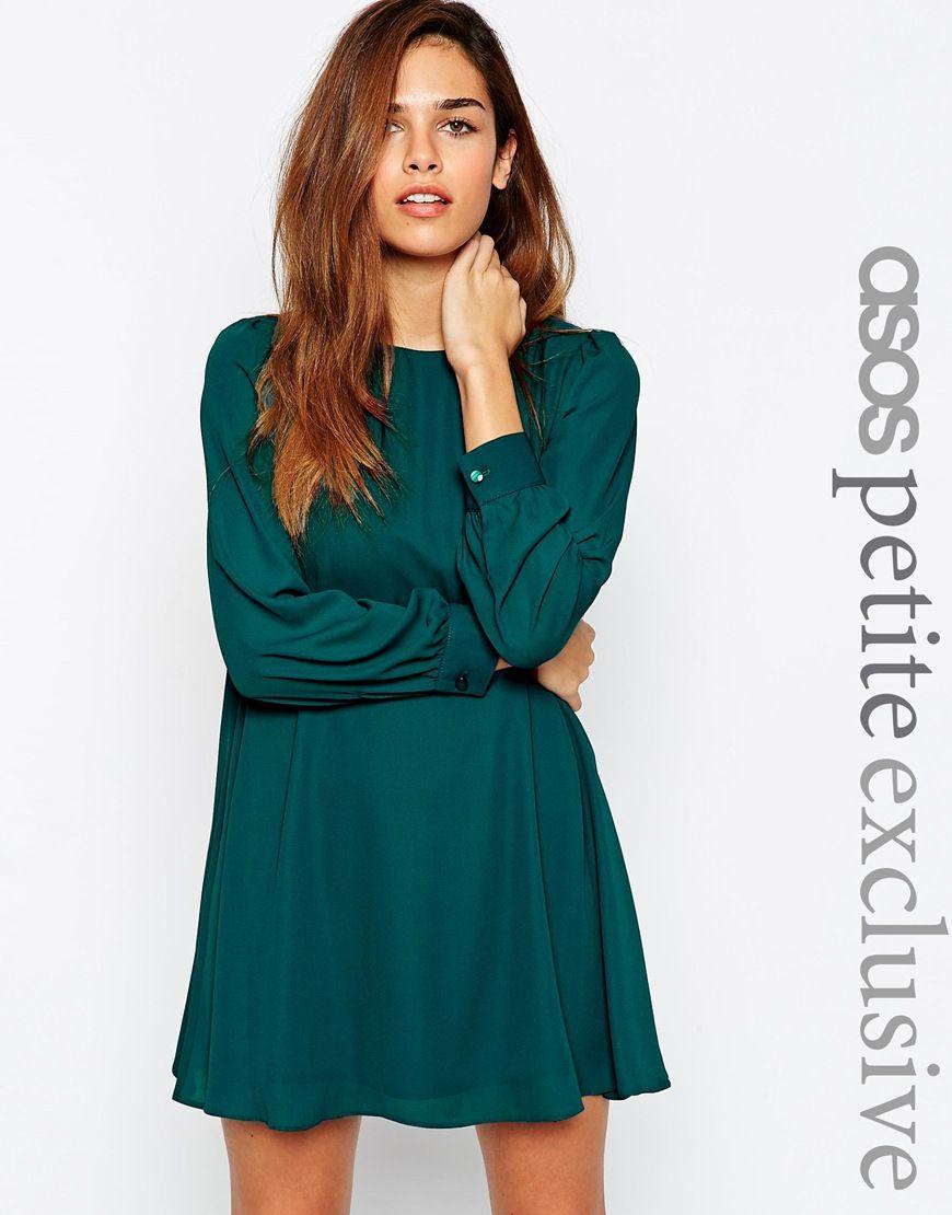 ASOS Petite | ASOS PETITE Mini Babydoll Swing Dress with Long Sleeve ...