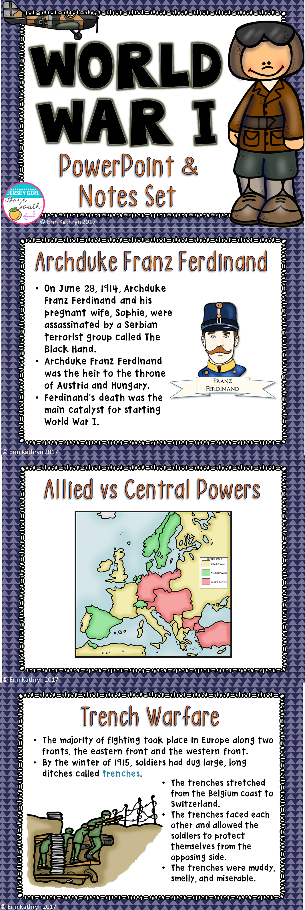World War I Powerpoint And Notes Set Wwi Ww1