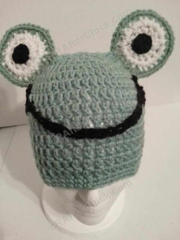 Cute and Easy Frog Beanie Hat Crochet Pattern - free animal hat ...