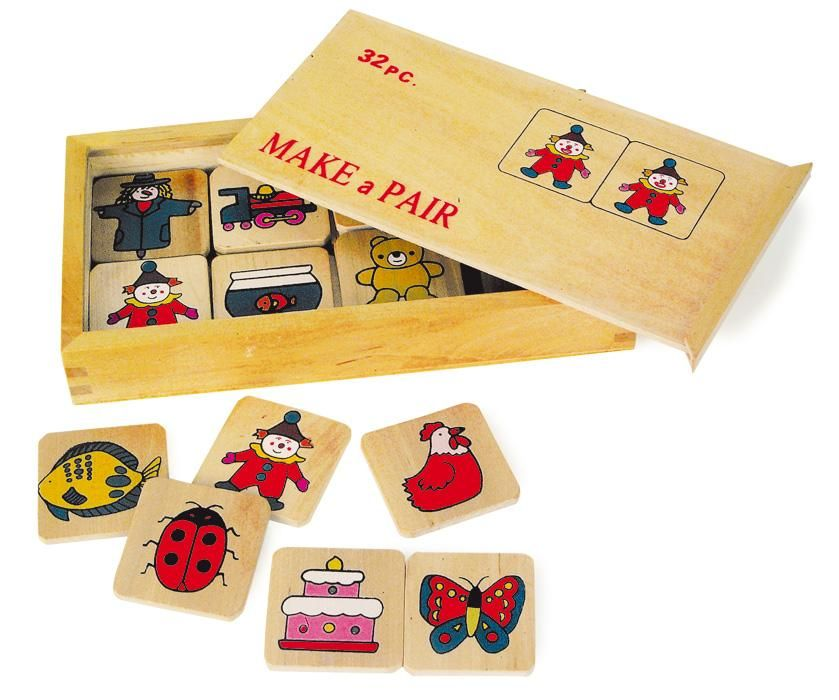 Classic memory match game with wooden pieces. affiliate
