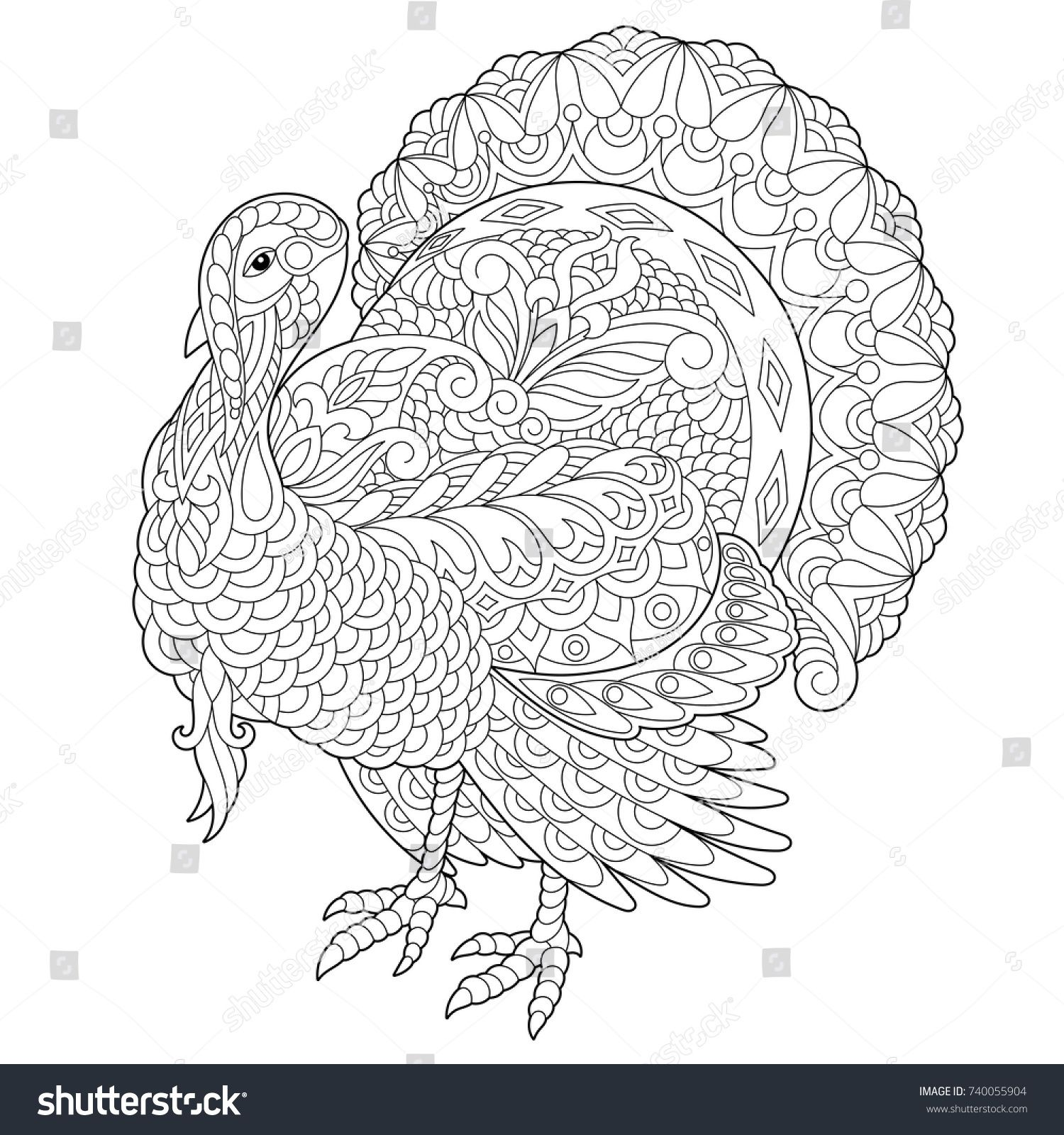 Coloring page of turkey for Thanksgiving Day greeting card. Freehand ...