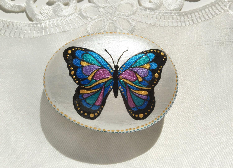 Butterflyblue Butterflymetallic Blue Butterflysparkle Etsy Blue Butterfly Painted Rocks Diy Metallic Blue
