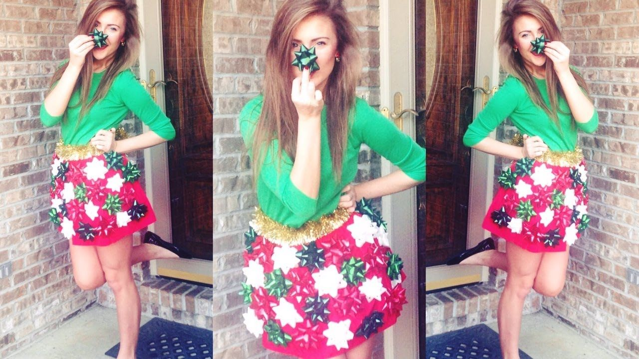 Diy Ugly Christmas Sweater Party Ideas Part - 22: DIY: Christmas Bow Skirt For Ugly Christmas Sweater Party!