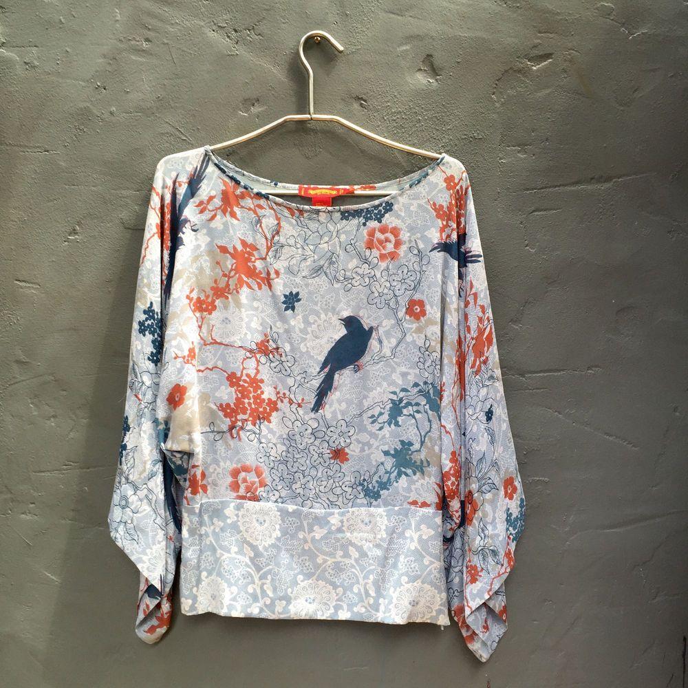 Shanghai Tang Blouse Floral, Bird Print Kimono Style Sleeve 100% Silk Size US8